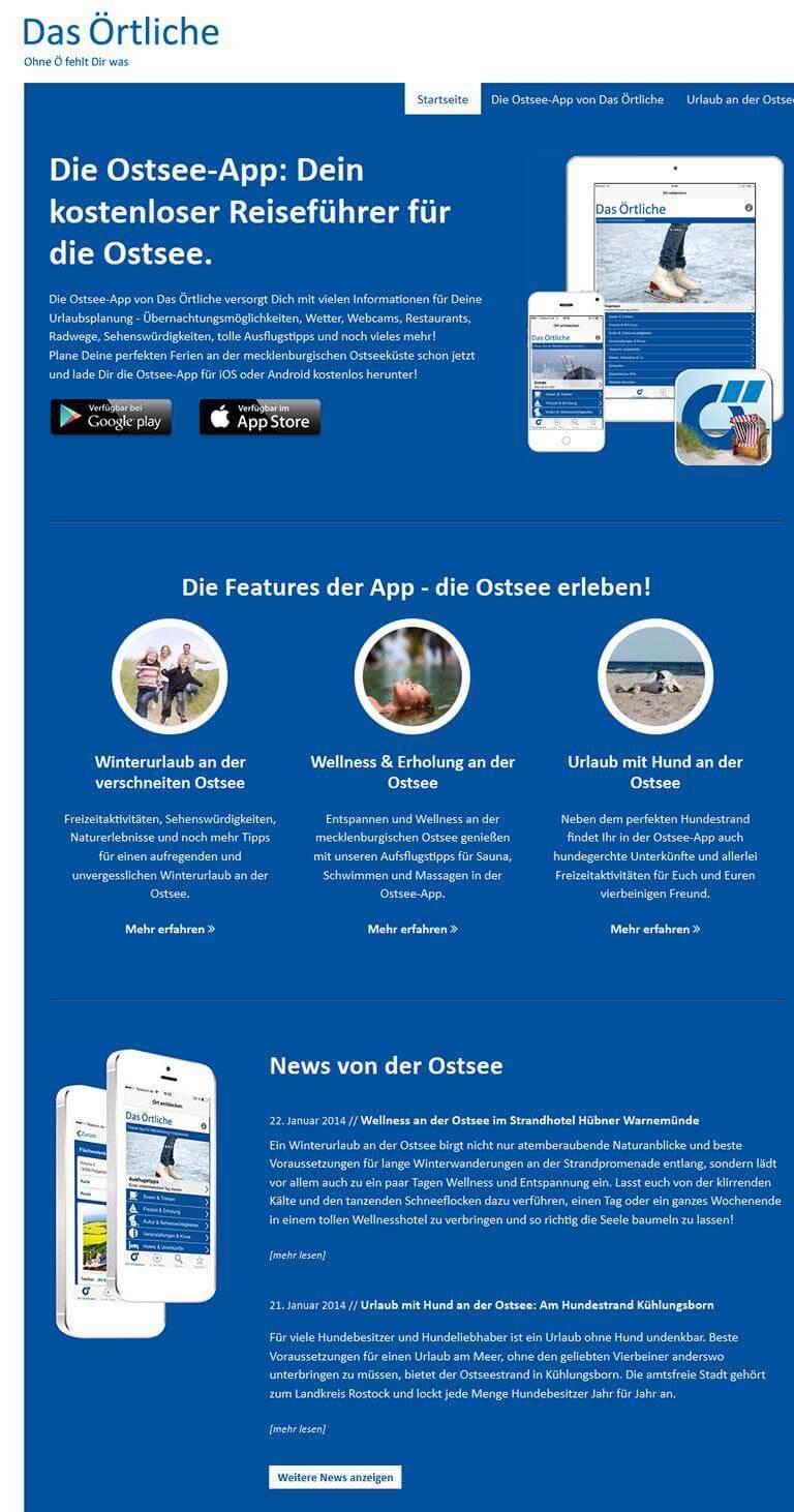 Die Ostsee-App von Das Örtliche, Reiseführer