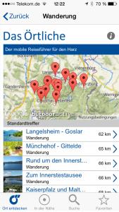 Harz-App-trefferliste