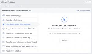 Werbeziele bei Facebook - Klicken zum Vergrößern!