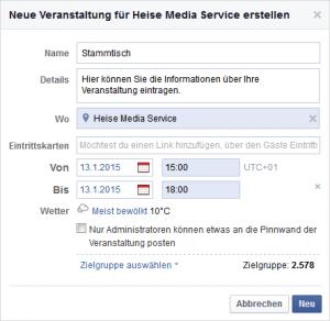 Beispiel: Facebook-Veranstaltung erstellen (Screenshot)