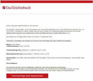 Terminanfrage-Service von Das Telefonbuch