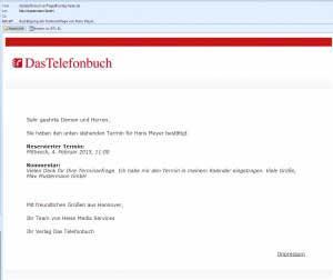 Terminanfrage-Service von Das Telefonbuch - Bestätigungsemail mit Kalendereintrag