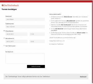 Terminanfrage-Service von Das Telefonbuch - Termin bestätigen