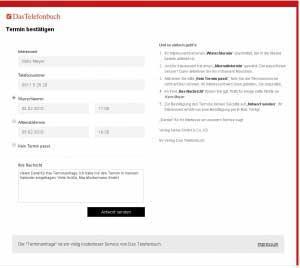 Terminanfrage-Service von Das Telefonbuch - Nachricht an Kunden hinterlassen.