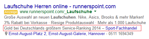 Bewertung AdWords