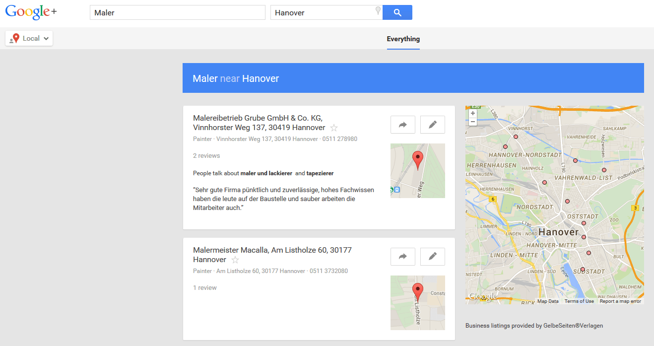 Google Plus Local Screenshot
