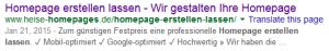 Beispiel: Google-Snippet mit Häkchen