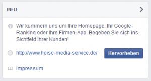Facebook Impressum erster Klick
