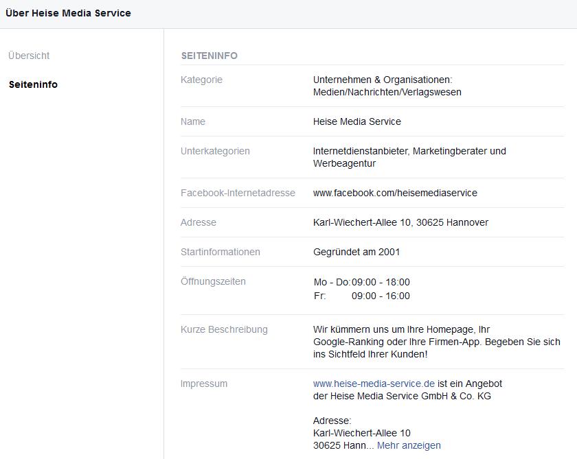 Facebook Impressum zweiter Klick
