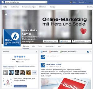 Für Facebook Unternehmensseiten gelten die gleichen Bedingungen wie bei Homepages
