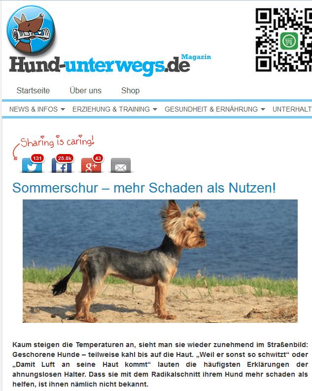Screenshot von http://www.hund-unterwegs.de/hunde-blog/sommerschur-mehr-schaden-als-nutzen/