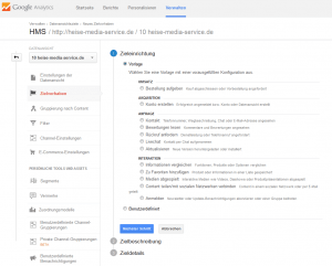 Ziele definieren mit Google Analytics (Screenshot: Google Analytics)