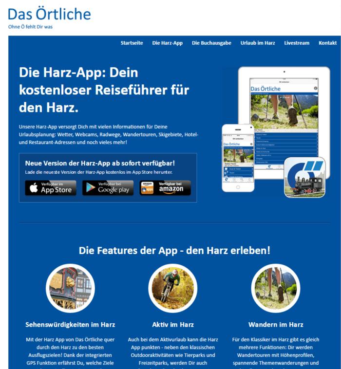 Screenshot Landingpage Harz App