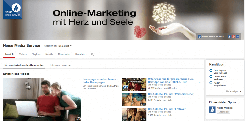 YouTube Kanal gestalten_Screenshot