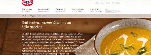 Auf www.oetker.de werden kostenlose Rezepte angeboten, die die eigenen Produkte in den Vordergrund stellen