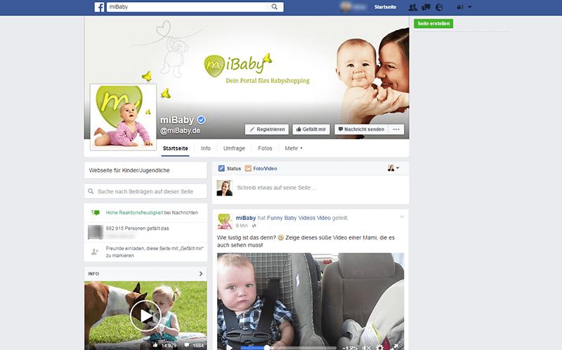 Screenshot der Facebook-Unternehmensseite von miBaby