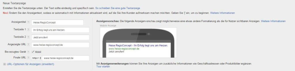 """Aktivieren Sie das Häkchen bei """"Mobil"""", um Google mitzuteilen, dass diese Anzeige bevorzugt auf Smartphones geschaltet werden soll."""
