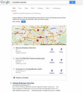 Neues Lokal Pack von Google