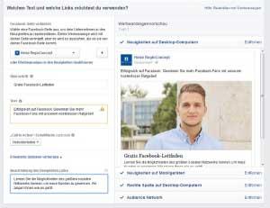 Abb. 16: Interface zur Erstellung von Werbemitteln bei business.facebook.com mit Vorschaufunktion.
