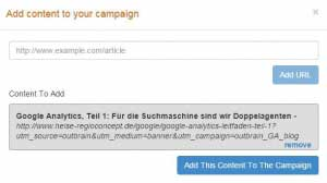 Abb. 9: Die automatische Erstellung der Werbemittel erfolgt bei Eingabe einer URL.