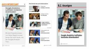 Abb. 3: Anzeigenvorschau bei Plista für die Publisher Fit for Fun, BZ und sueddeutsche.de