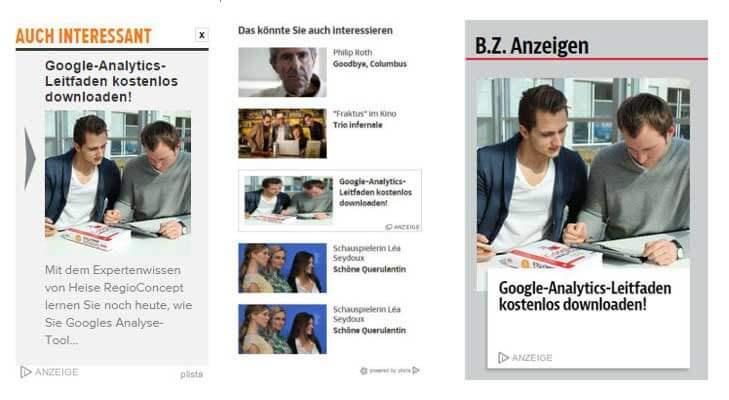 Content-Promotion bei Plista - Vorschau der Anzeigen