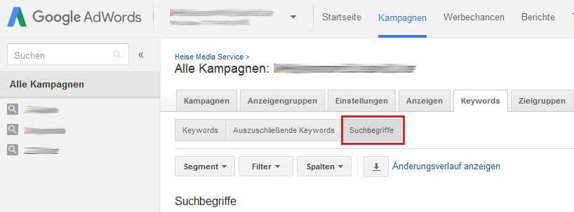 Suchanfragebericht Screenshot