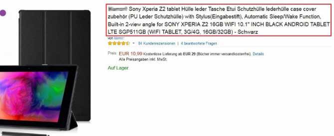 Lange Produkttitel bei Amazon