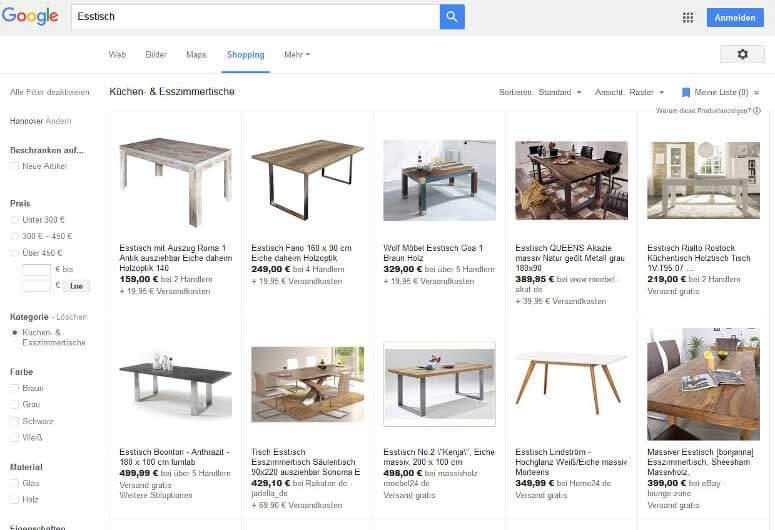 Google Shopping Kampagne Beispiel