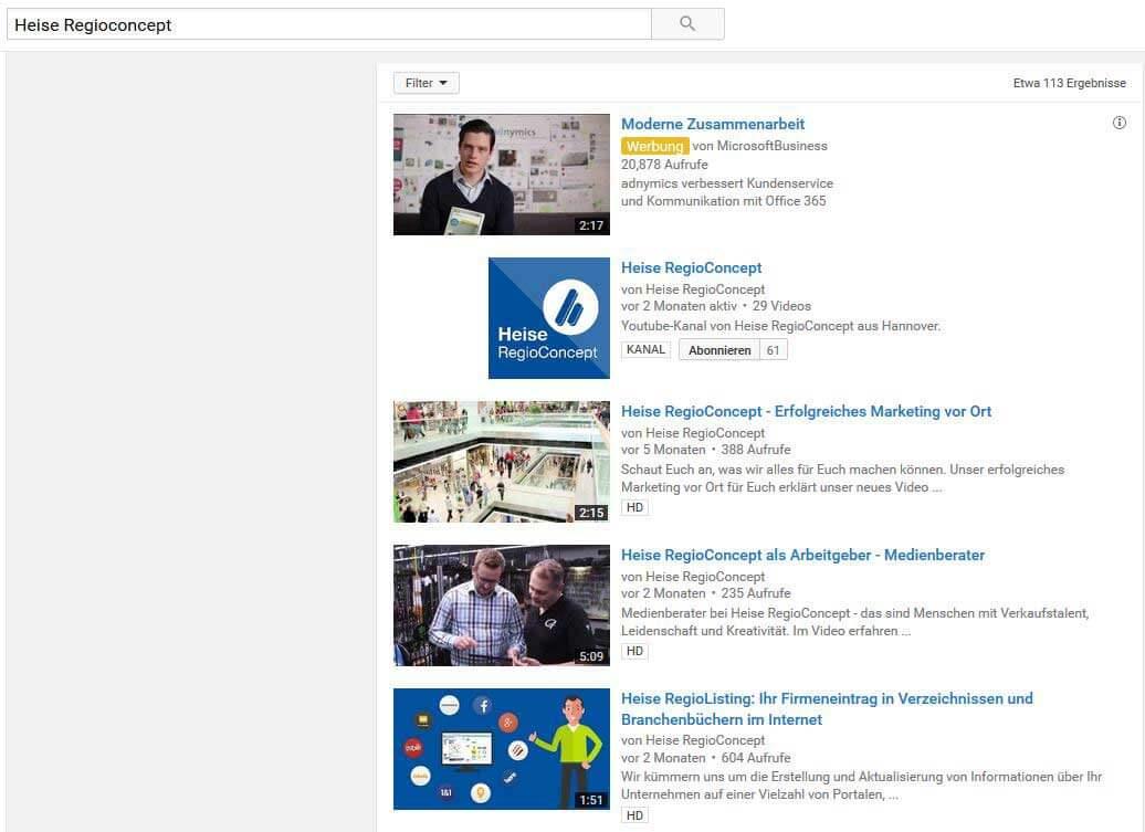 Unternehmen YouTube Beispiel