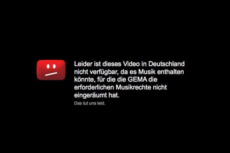 GEMA Sperre YouTube Urheberrecht
