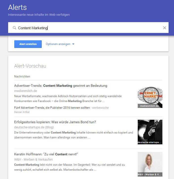 Google Alerts Beispiel Suchwort