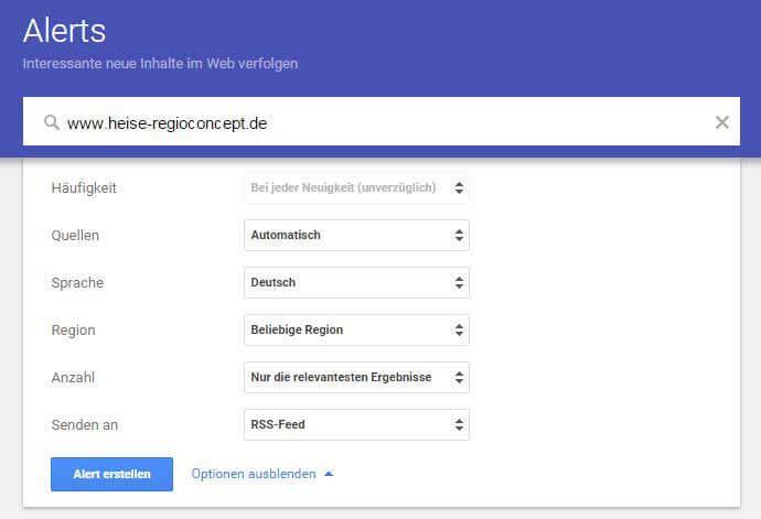 Google Alerts Beispiel