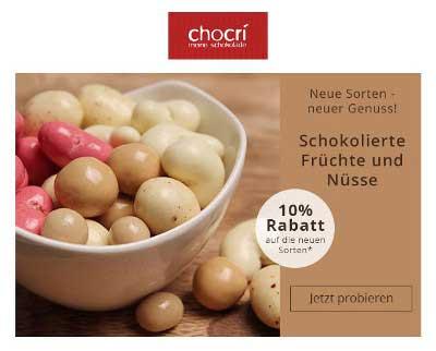 Leser des Newsletters von www.chocri.de, einem Online-Shop für individuelle Schokolade, genießen einen Rabatt von 10 Prozent auf das neue Sortiment.