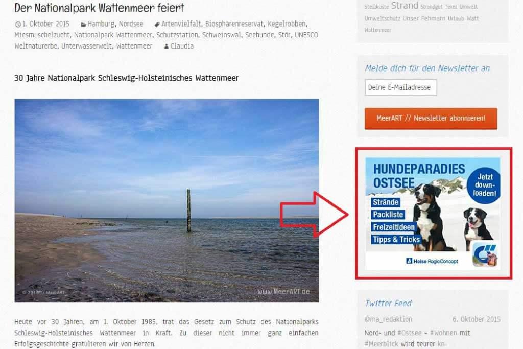 Banner des Hundereiseführers der Ostsee-App von Das Örtliche (http://www.ostseeapp.de/) eingebunden auf www.meerart.de.