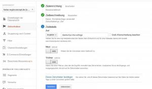 """Einrichtung des Zielvorhabens """"Kontaktanfrage"""" über Google Analytics."""