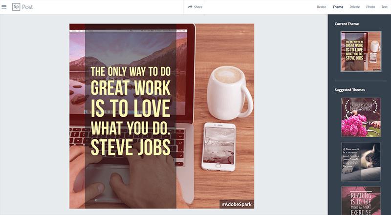 Mit Adobe Spark Grafiken für Social Media erstellen, z.B. für Instagram. (Screenshot)