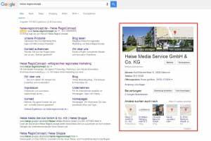 Google Plus Local Suchergebnisse