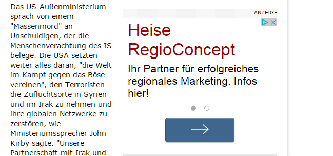 Beispiel einer Textanzeige auf spiegel.de