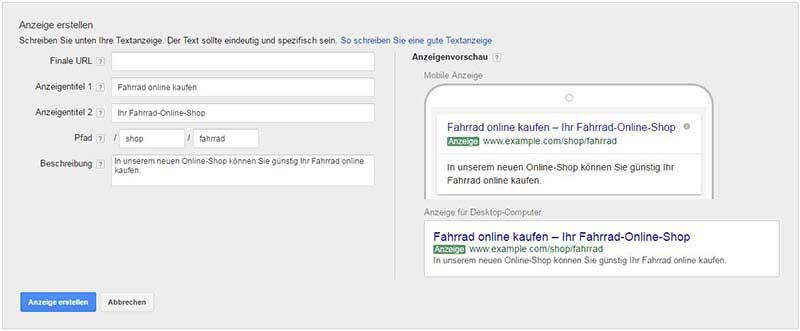 Google AdWords neues Anzeigenformat
