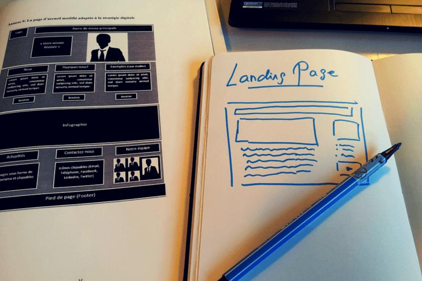 Skizze für eine Landingpage