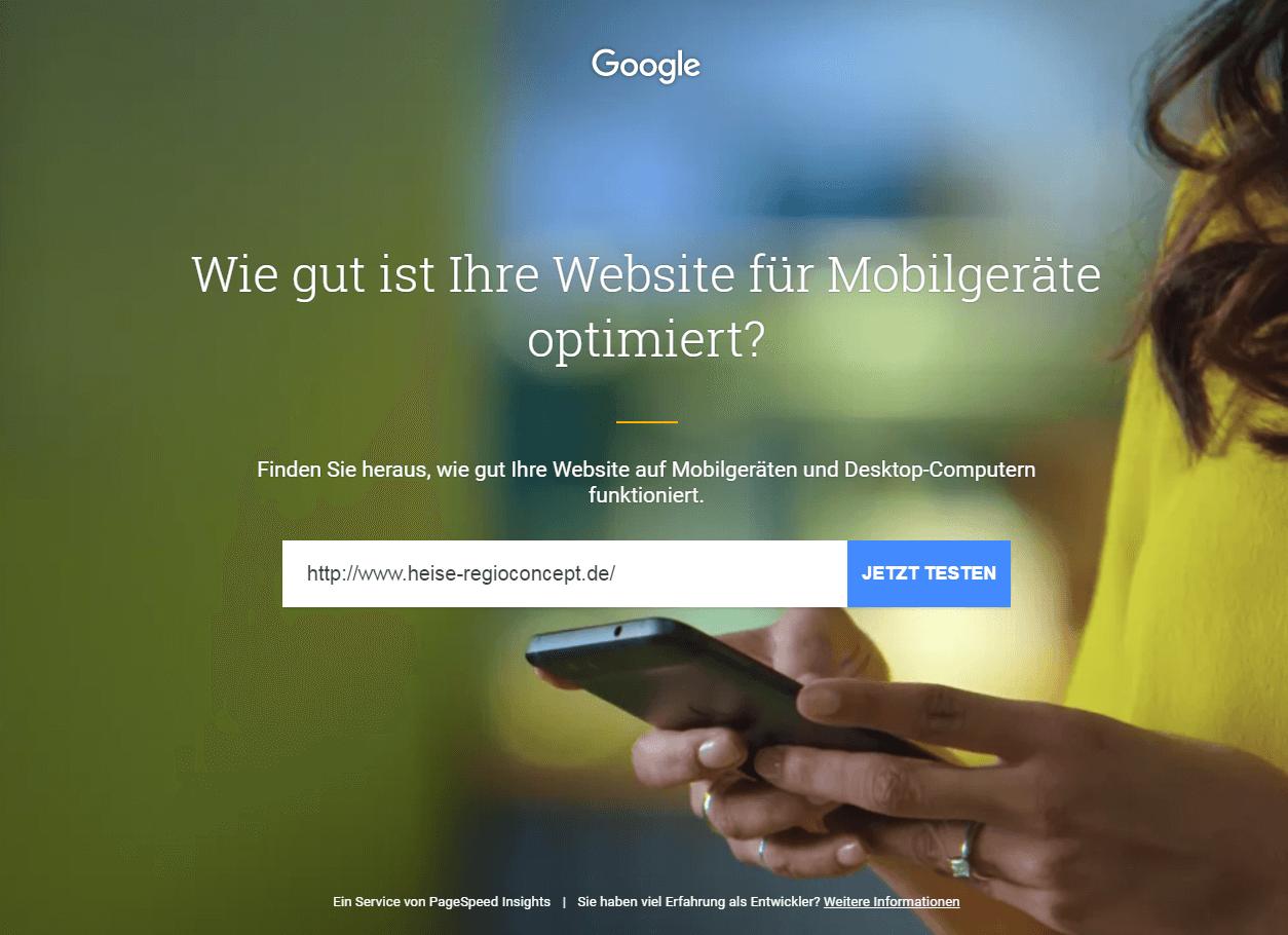 Zum Testen der eigenen Webseite braucht Google nur die URL.