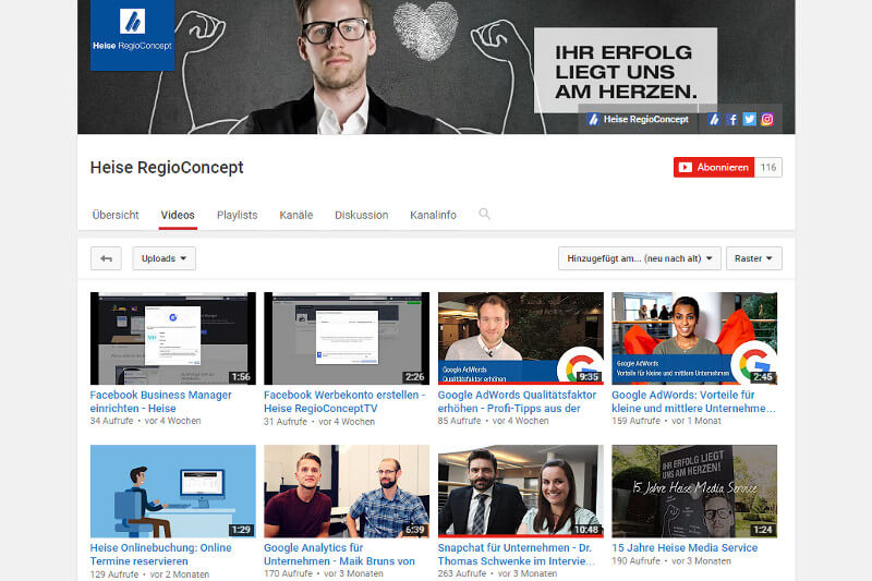 Heise RegioConcept TV bei YouTube