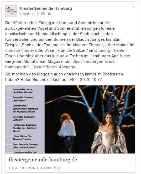 Theater Gemeinde Hamburg Facebook Post