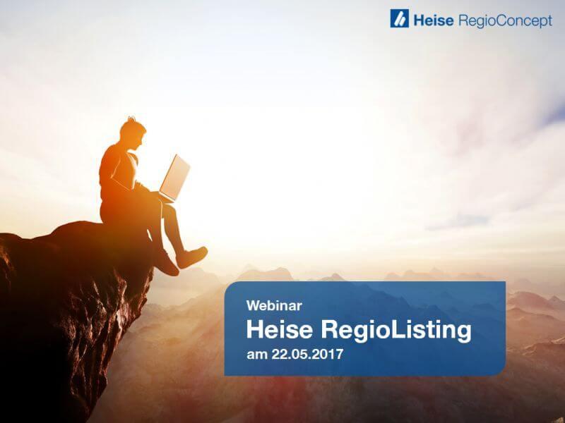 """Beispielfolie aus dem Webinar zum Thema """"Heise RegioListing"""""""