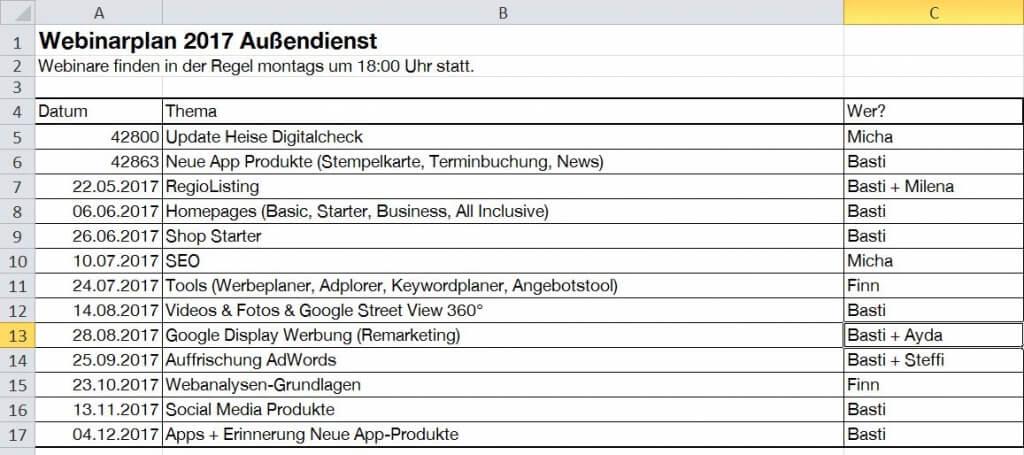 Webinarplan Heise RegioConcept