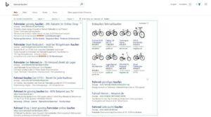 Bing-Anzeigen nehmen viel Platz in den Bing-Suchergebnissen ein.