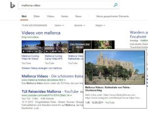 Videos können bei Bing direkt in den Suchergebnissen abgespielt werden. (Screenshot, Quelle: Bing)