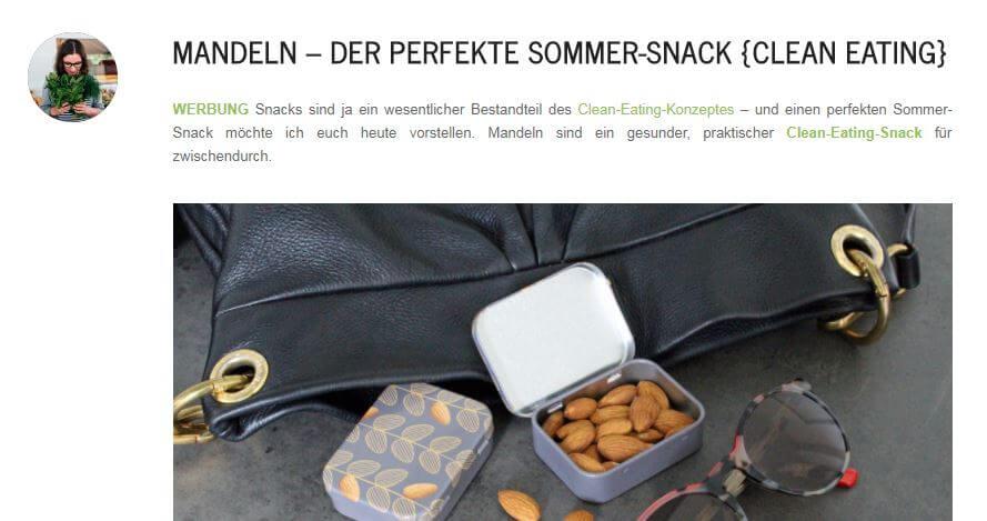 """Positivbeispiel für die Kennzeichnung von Werbung auf dem Blog: Hannah Frey von Projekt Gesund Leben kennzeichnet den Beitrag ganz klar mit dem Hinweis """"Werbung."""" (Screenshot, Quelle: http://www.projekt-gesund-leben.de)"""