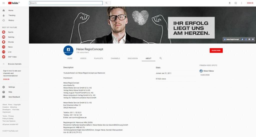 So kann ein Impressum auf YouTube aussehen.